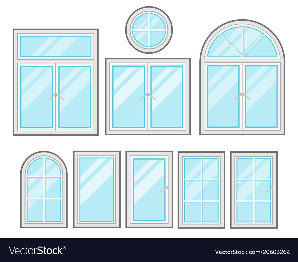 Windows flat cartoon set isolated on white