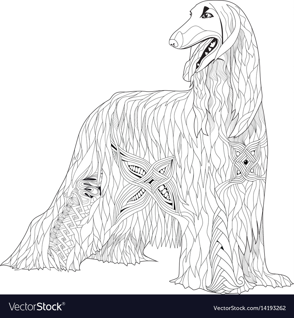 Zentangle stylized afghan hound hand drawn lace