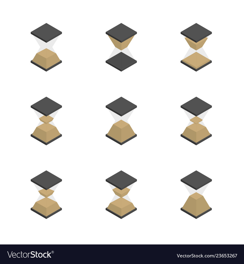 3d hourglass icons set