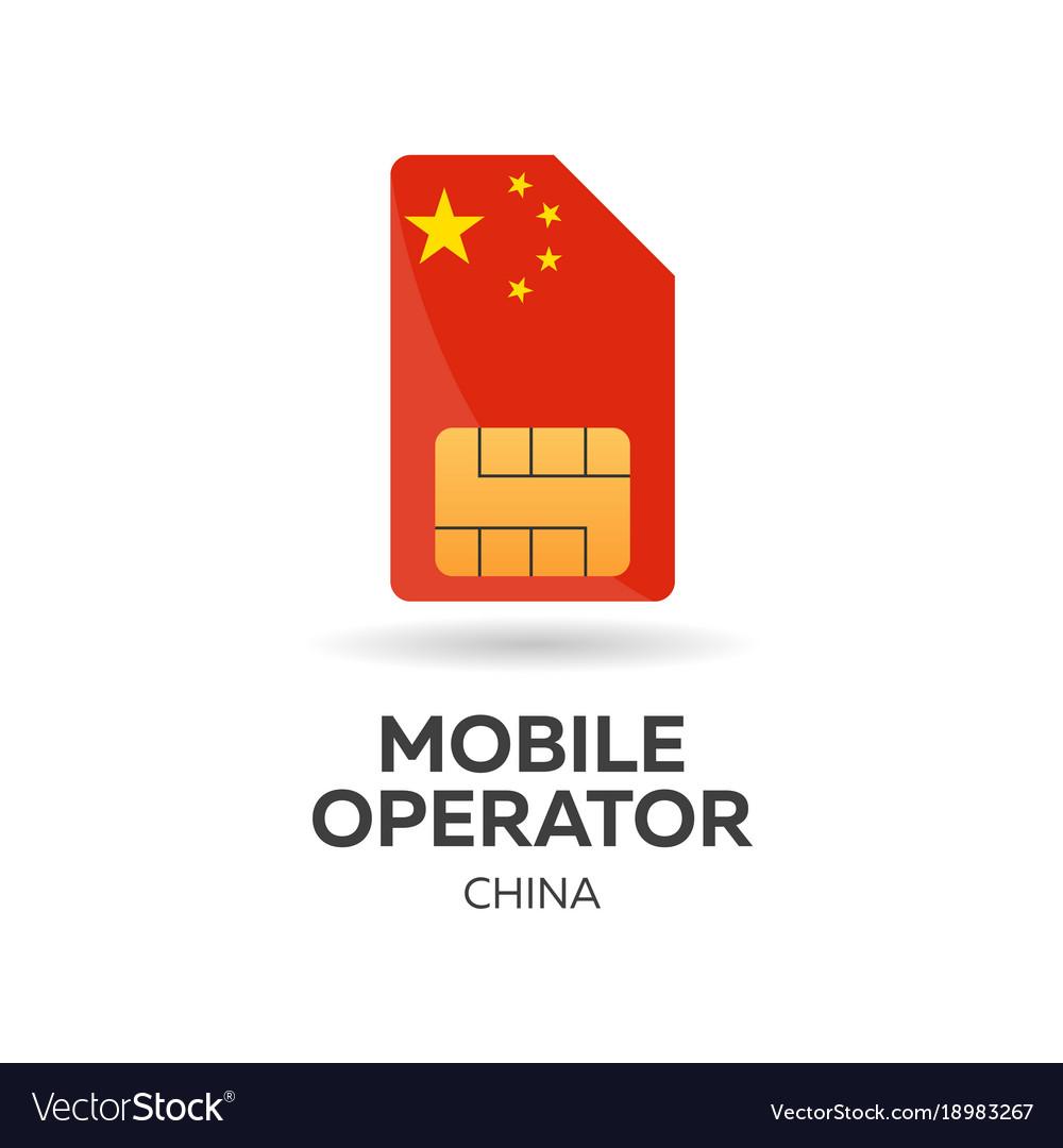 China mobile operator sim card with flag