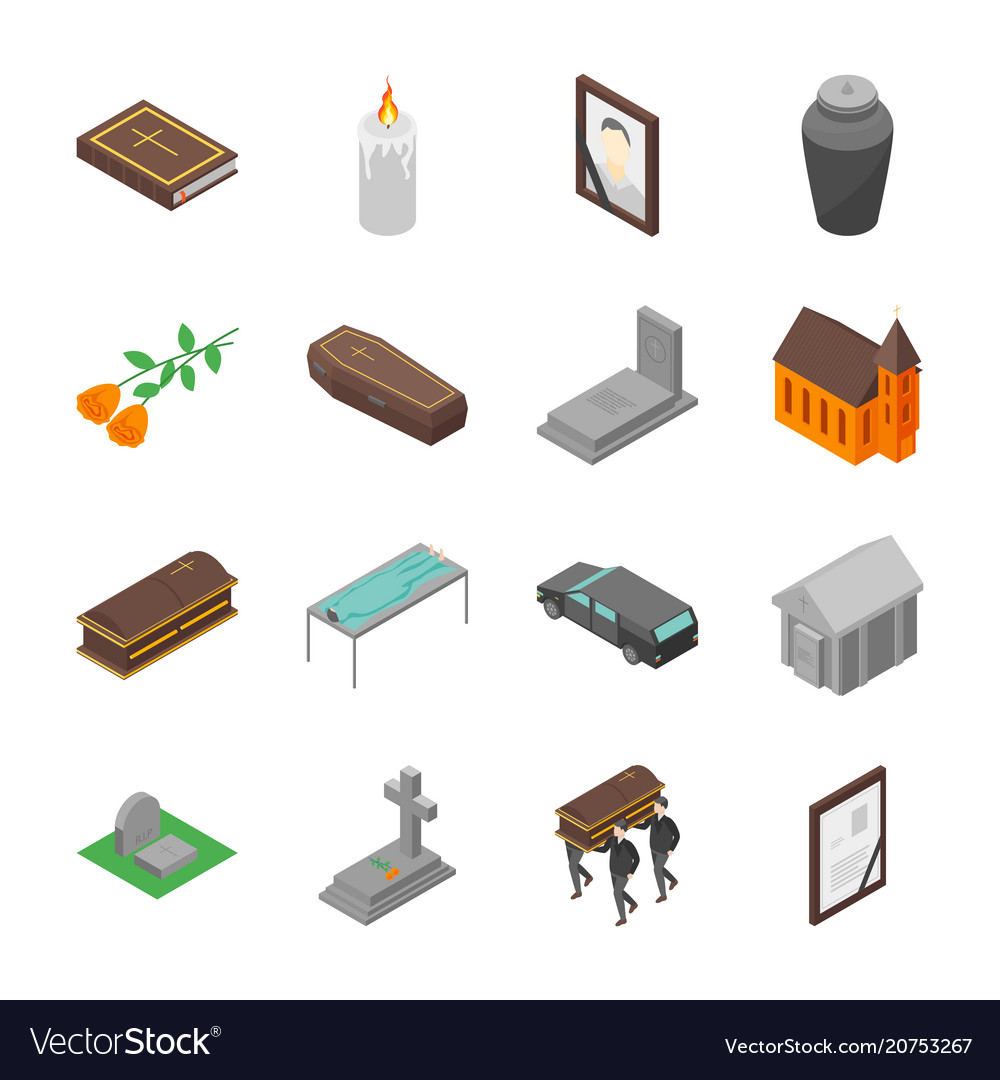 Funeral signs 3d icons set isometric view