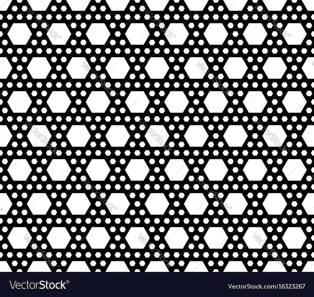 Geometric seamless pattern black white hexagons