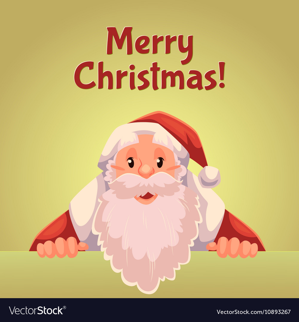 Greeting card with cartoon Santa Claus holding a