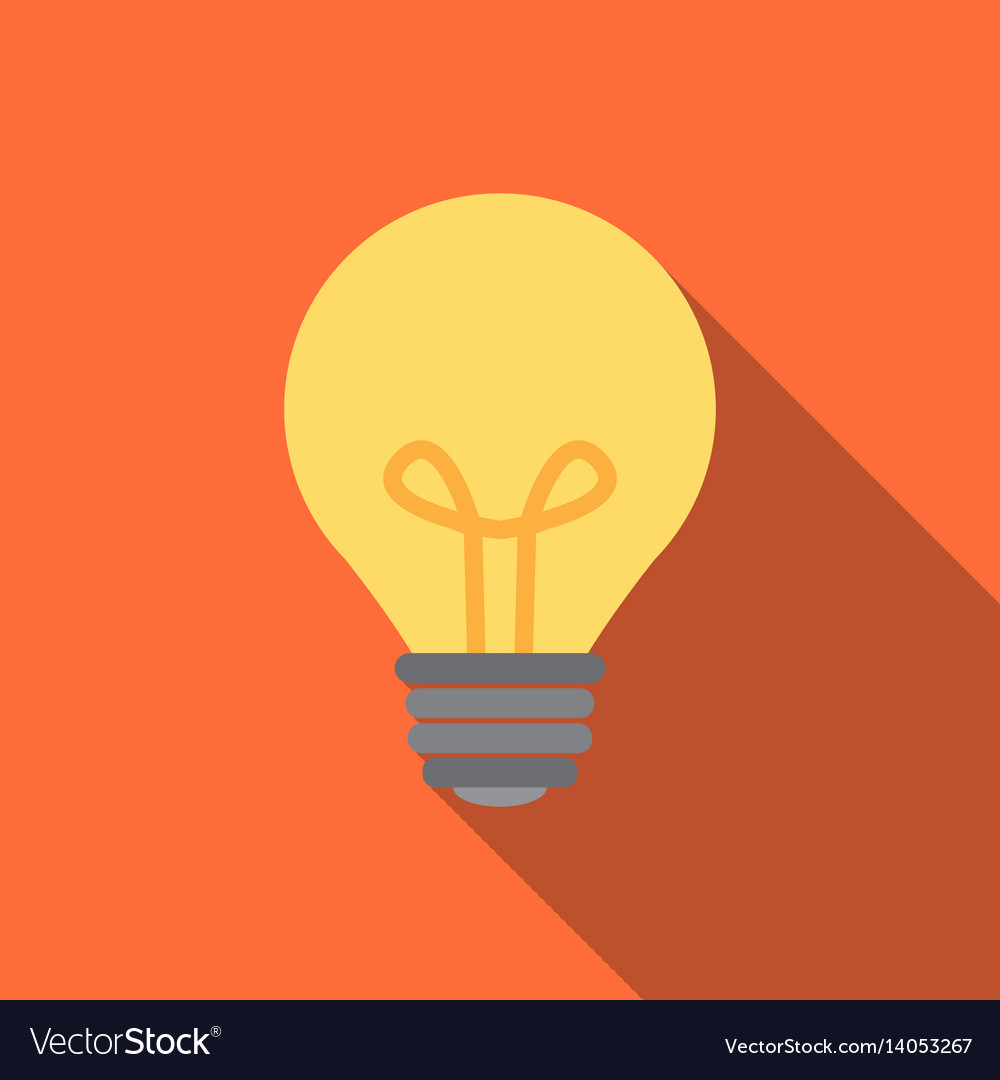 Light bulb icon in flat style