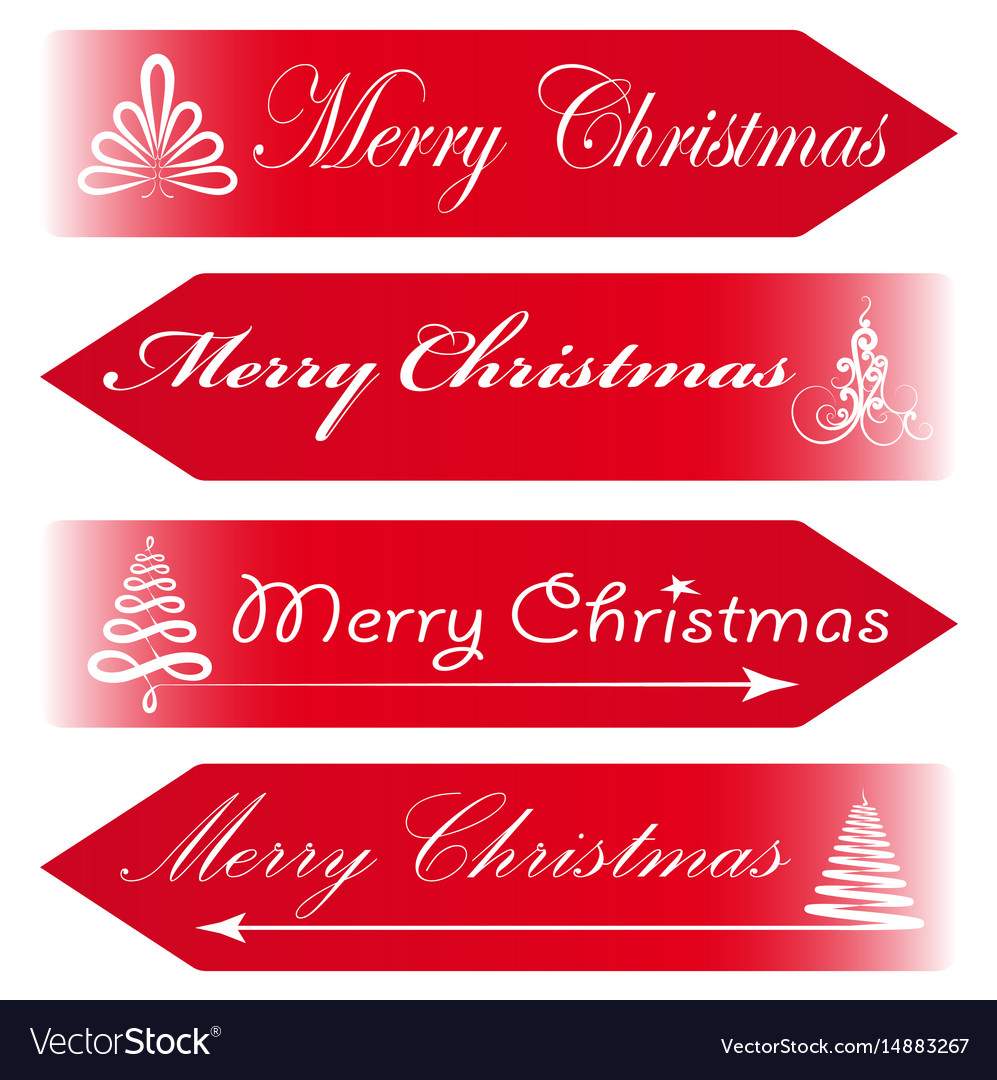 Christmas Arrow Signs.Merry Christmas Road Signs Arrows Message Red