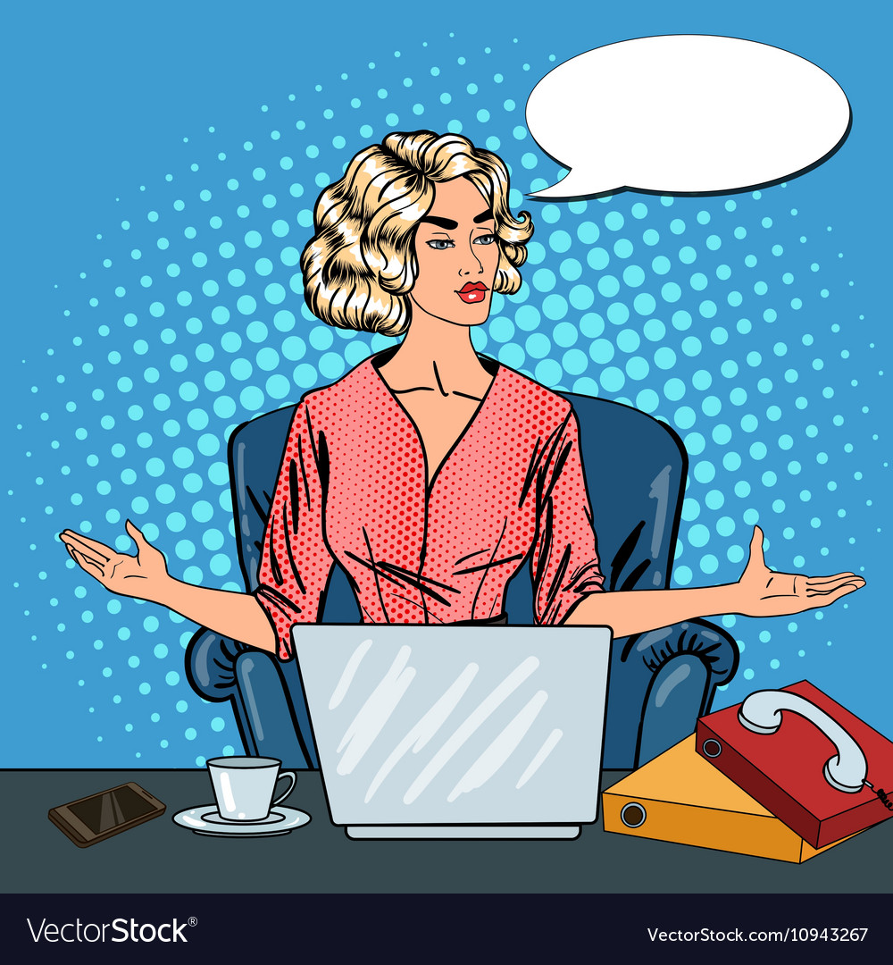 Pop Art Stressed Business Woman with Laptop