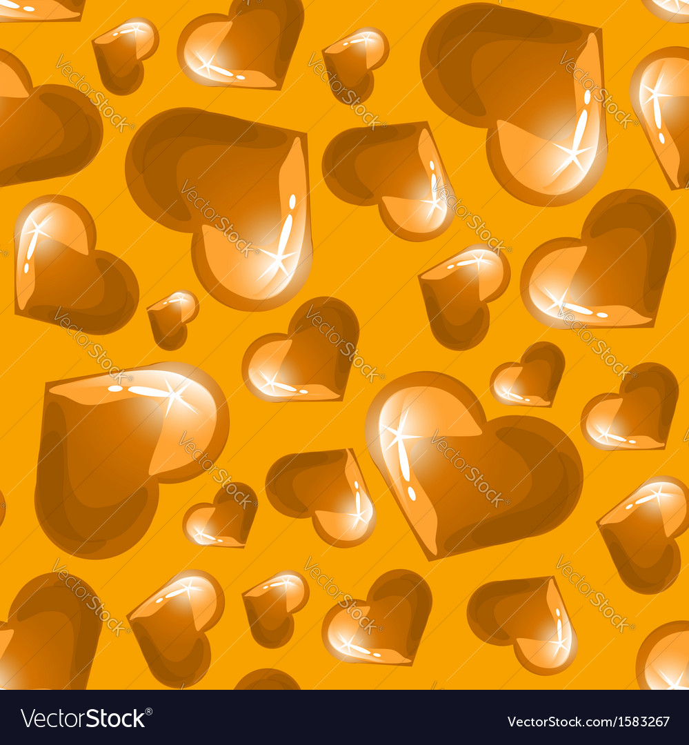 Seamless background with golden shining hearts vector image