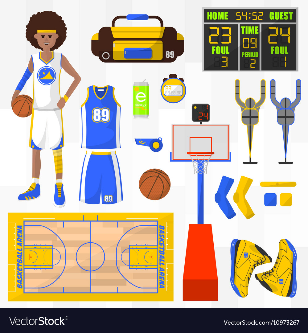 Set of basketball elements