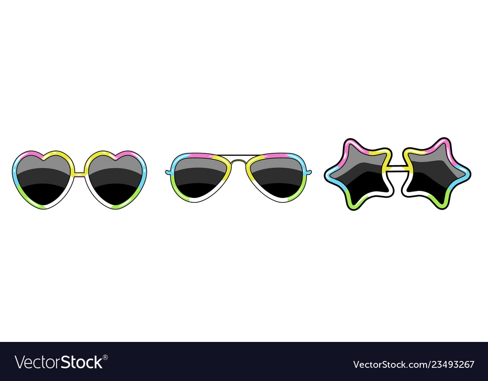 Set of glasses with a frame of different shapes of