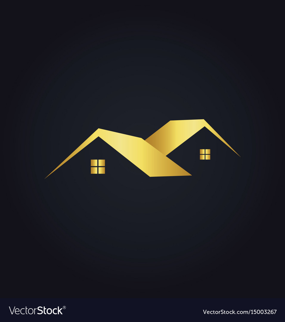 Simple house icon gold logo