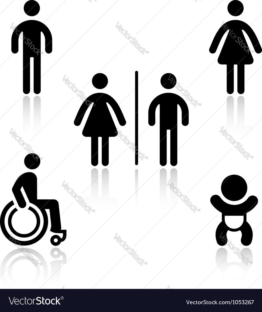 Toilet black set pictograms vector image