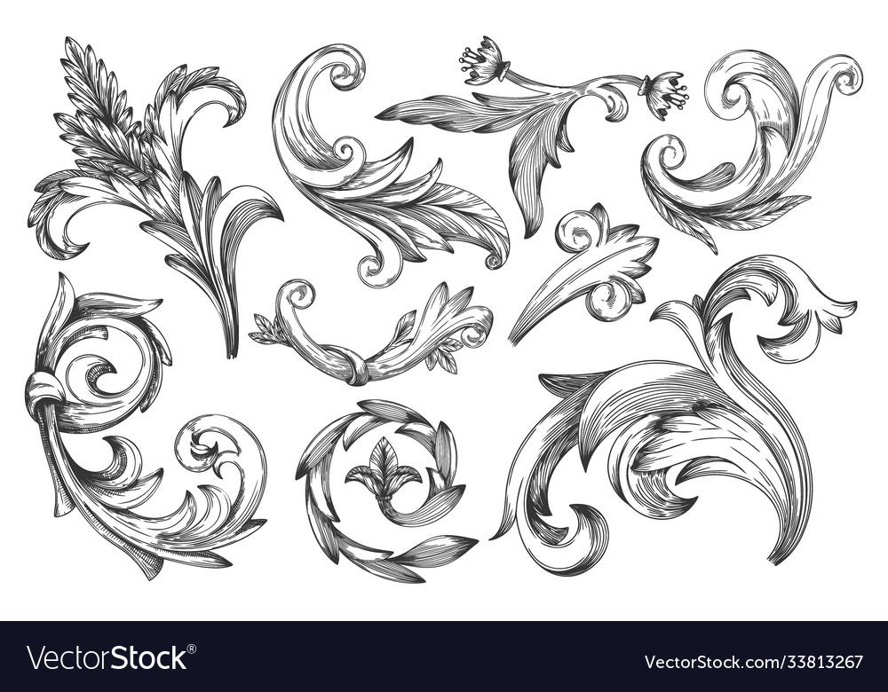 Vintage baroque frame or border scroll element set