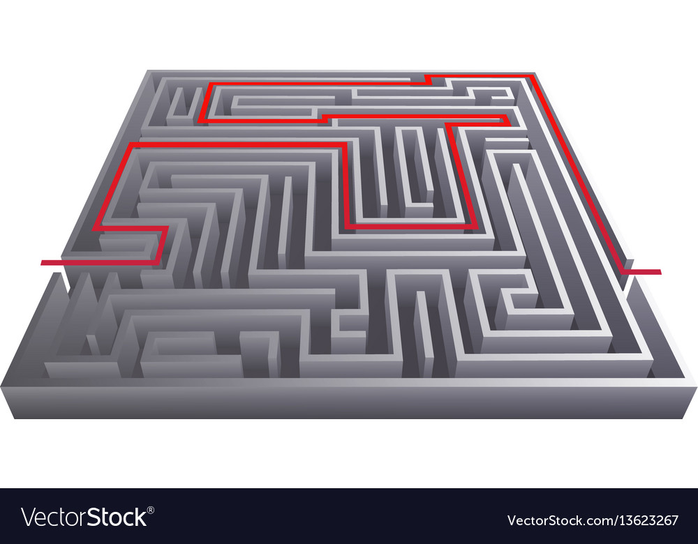 Way pass intricacy labyrinth isometric maze vector image