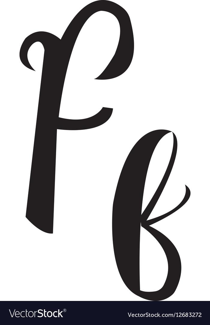 Alphabet Letter F Lettering Calligraphy Manuscript Vector Image