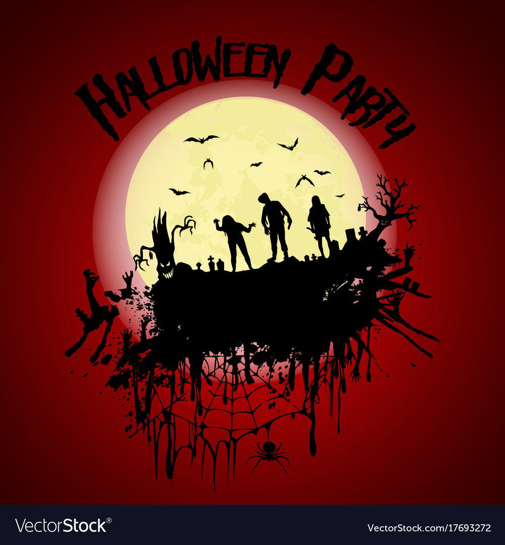 Halloween partyzombie cemetery creepy trees and a