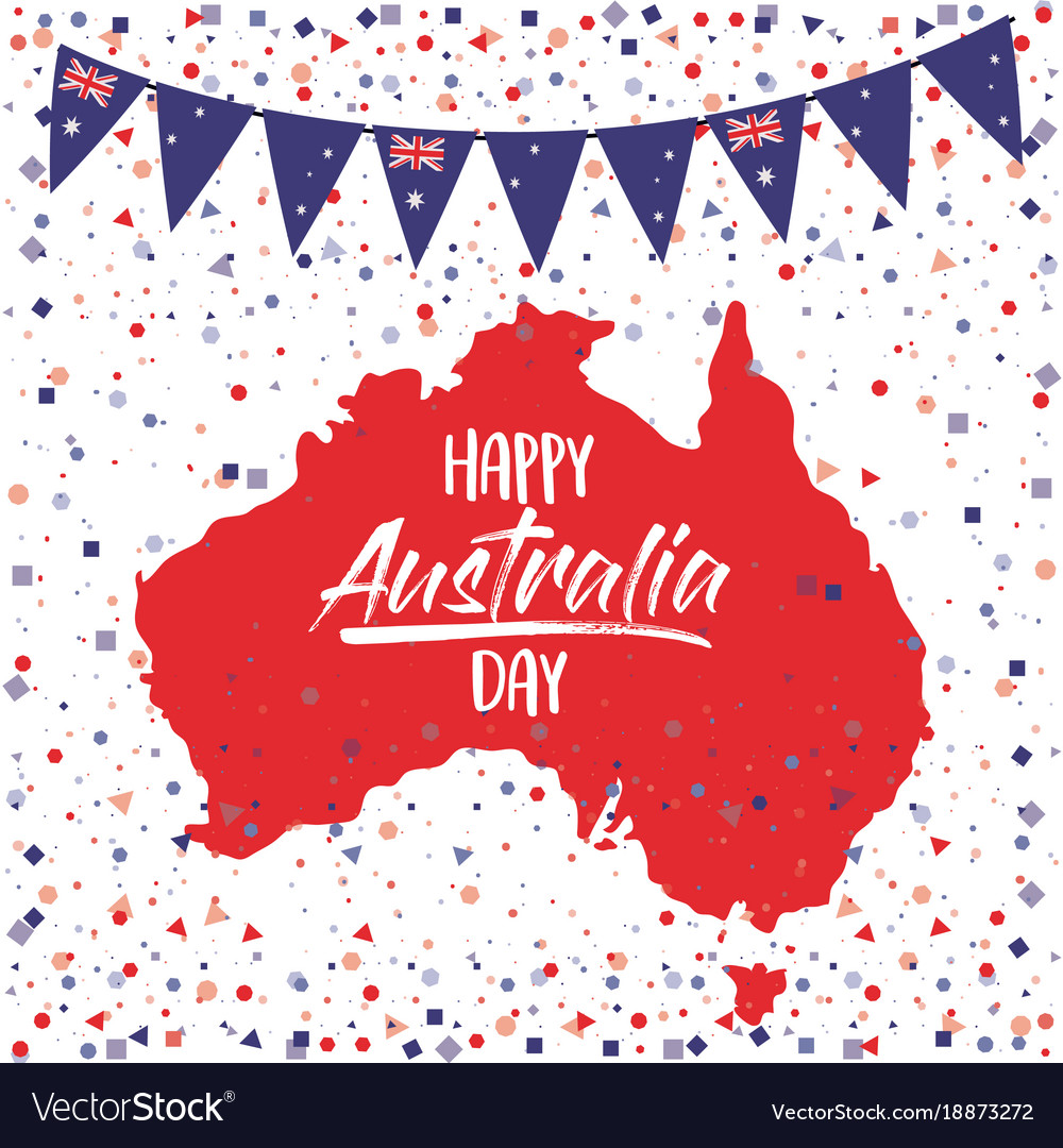 Australia Map Poster.Happy Australia Day Poster With Australia Map In Vector Image