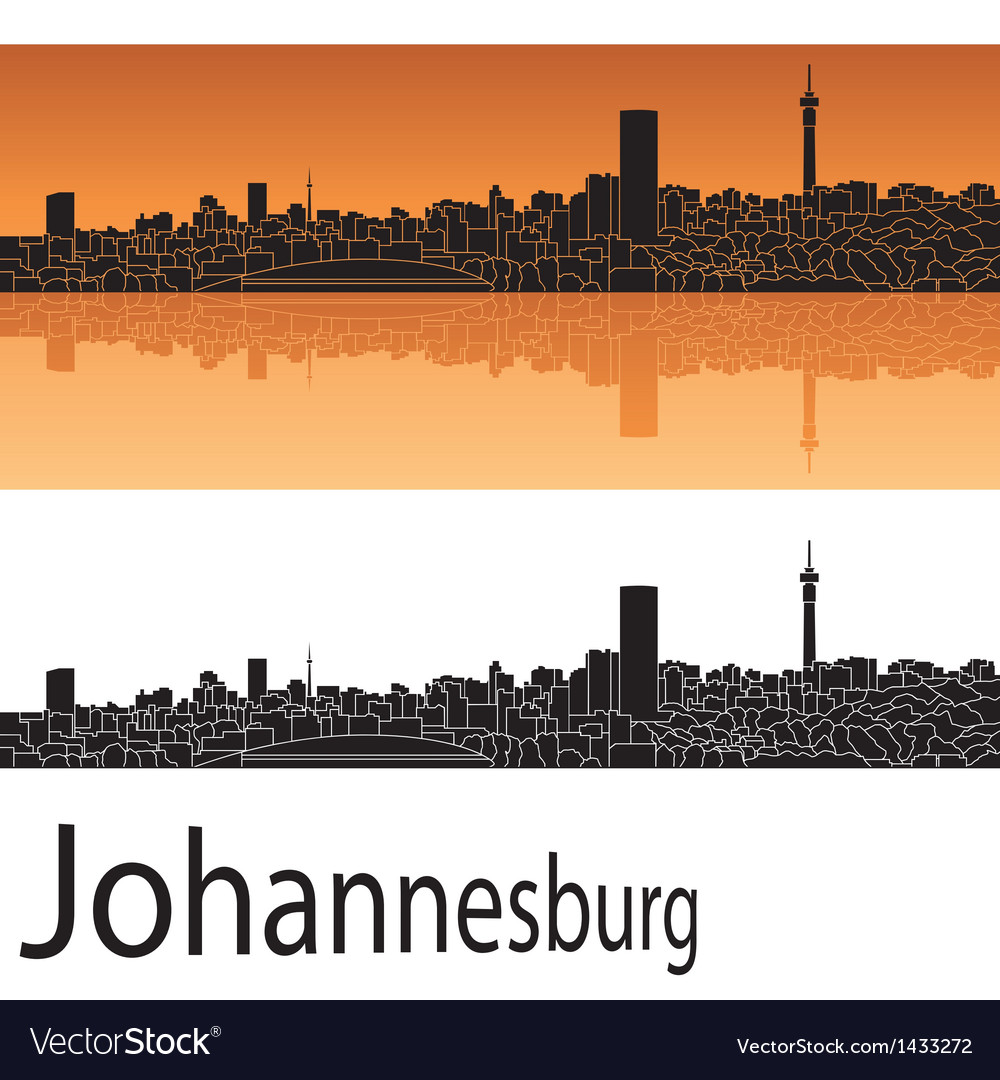 Johannesburg skyline in orange background vector image thecheapjerseys Images