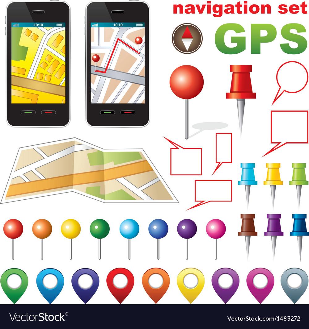 Navigation set with icons GPS