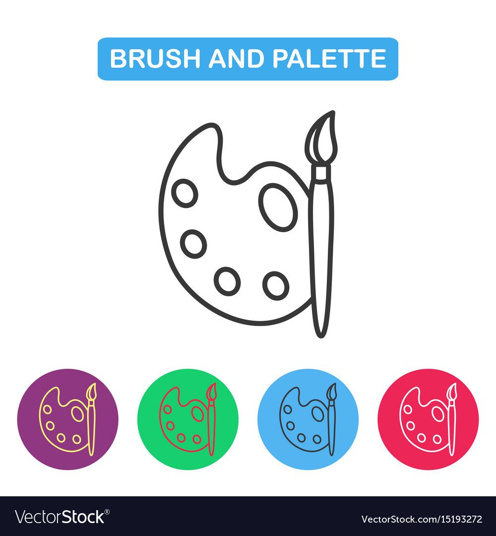 Paint brush with palette icon