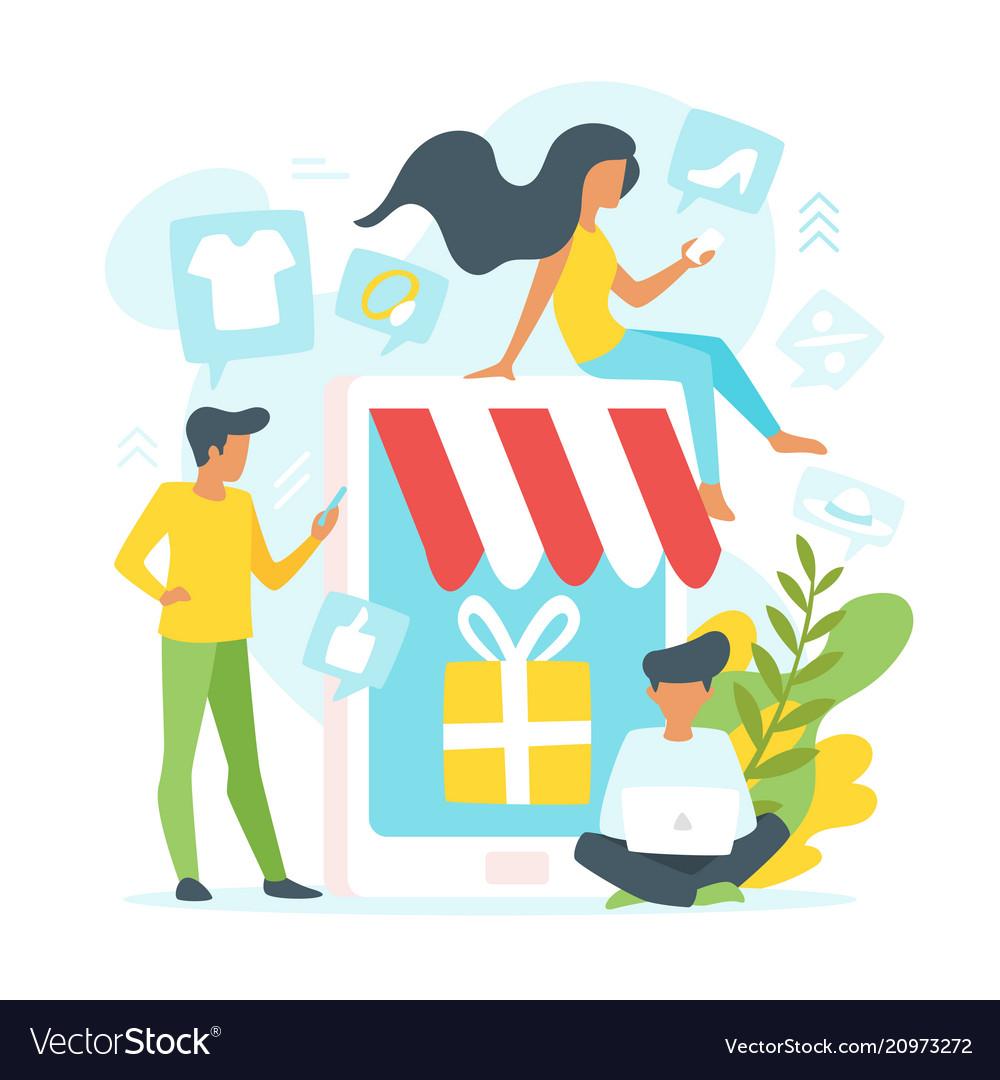 People making online shopping
