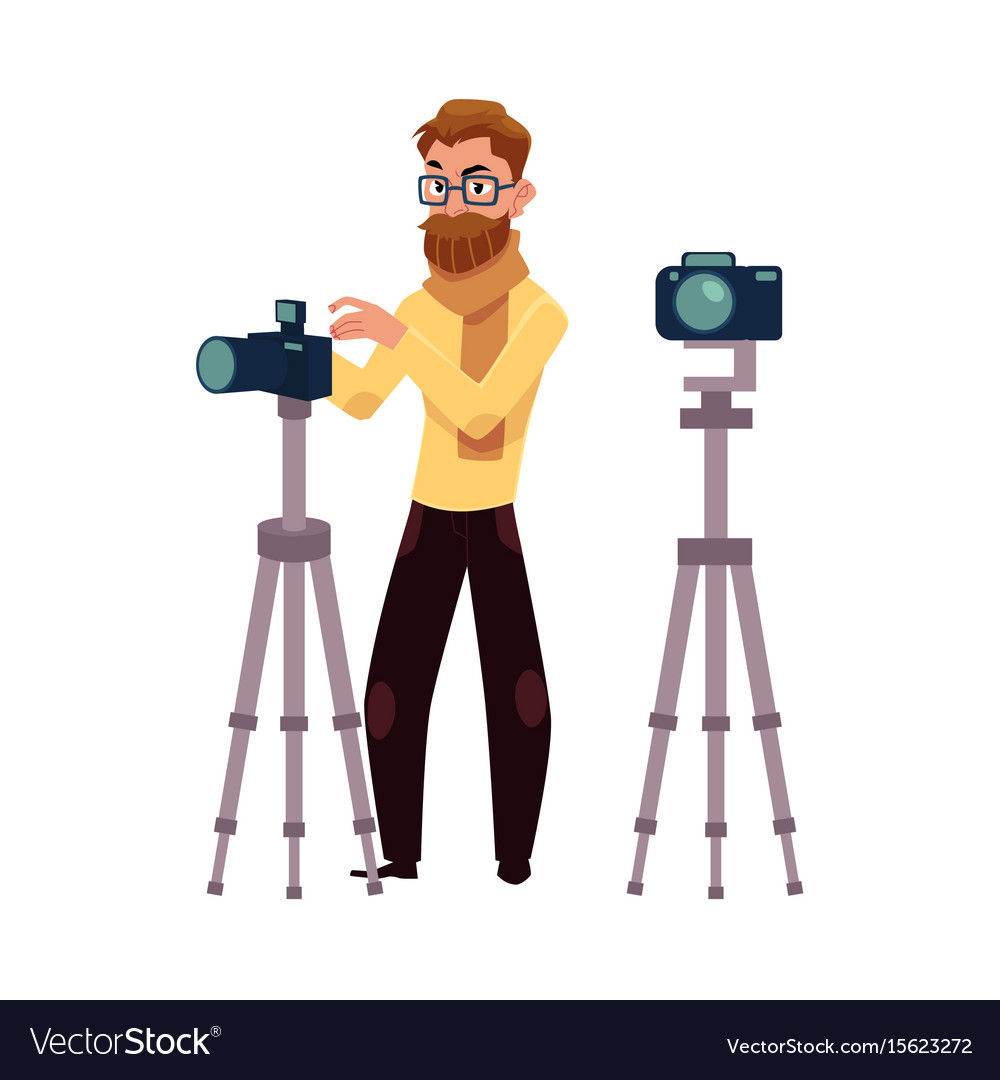 Photographer Taking Pictures Shooting In Studio Vector Image