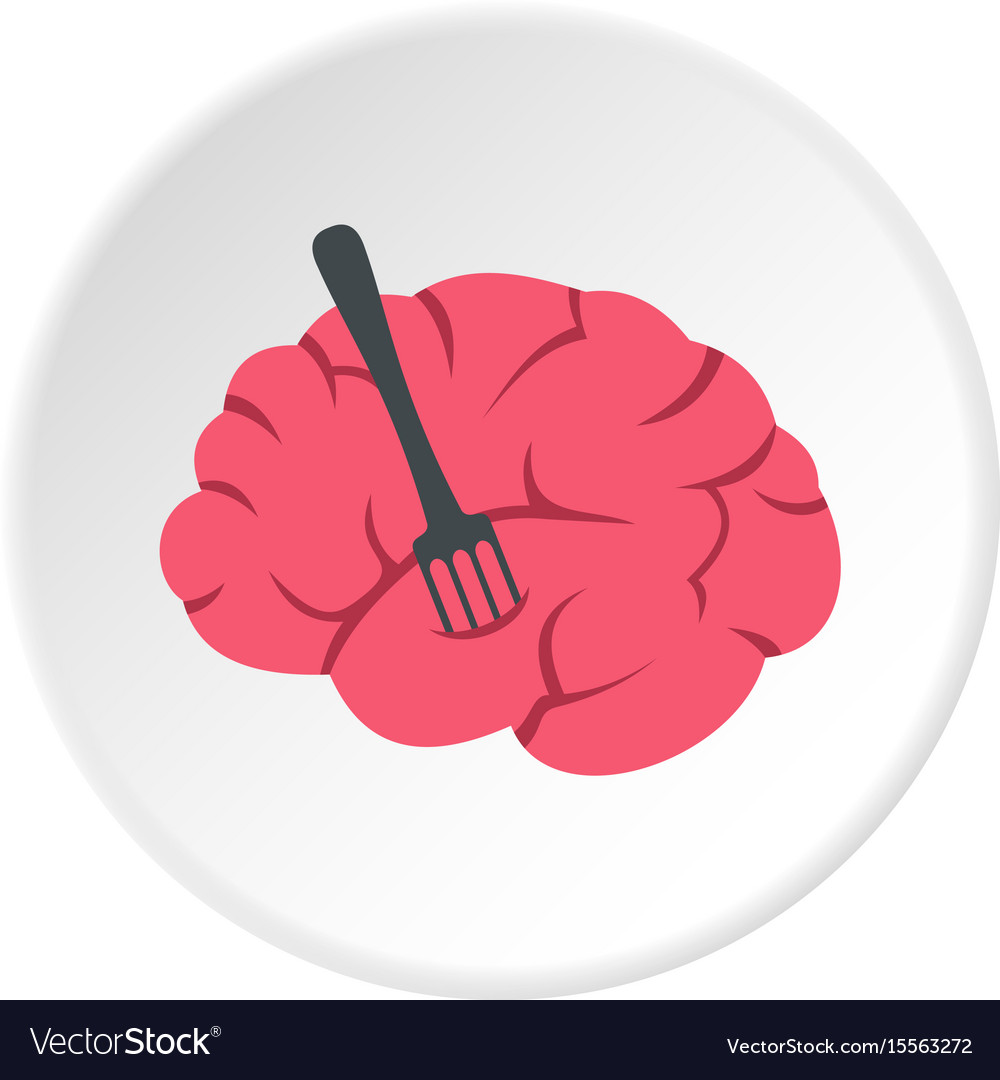 Pink brain with fork icon circle vector image