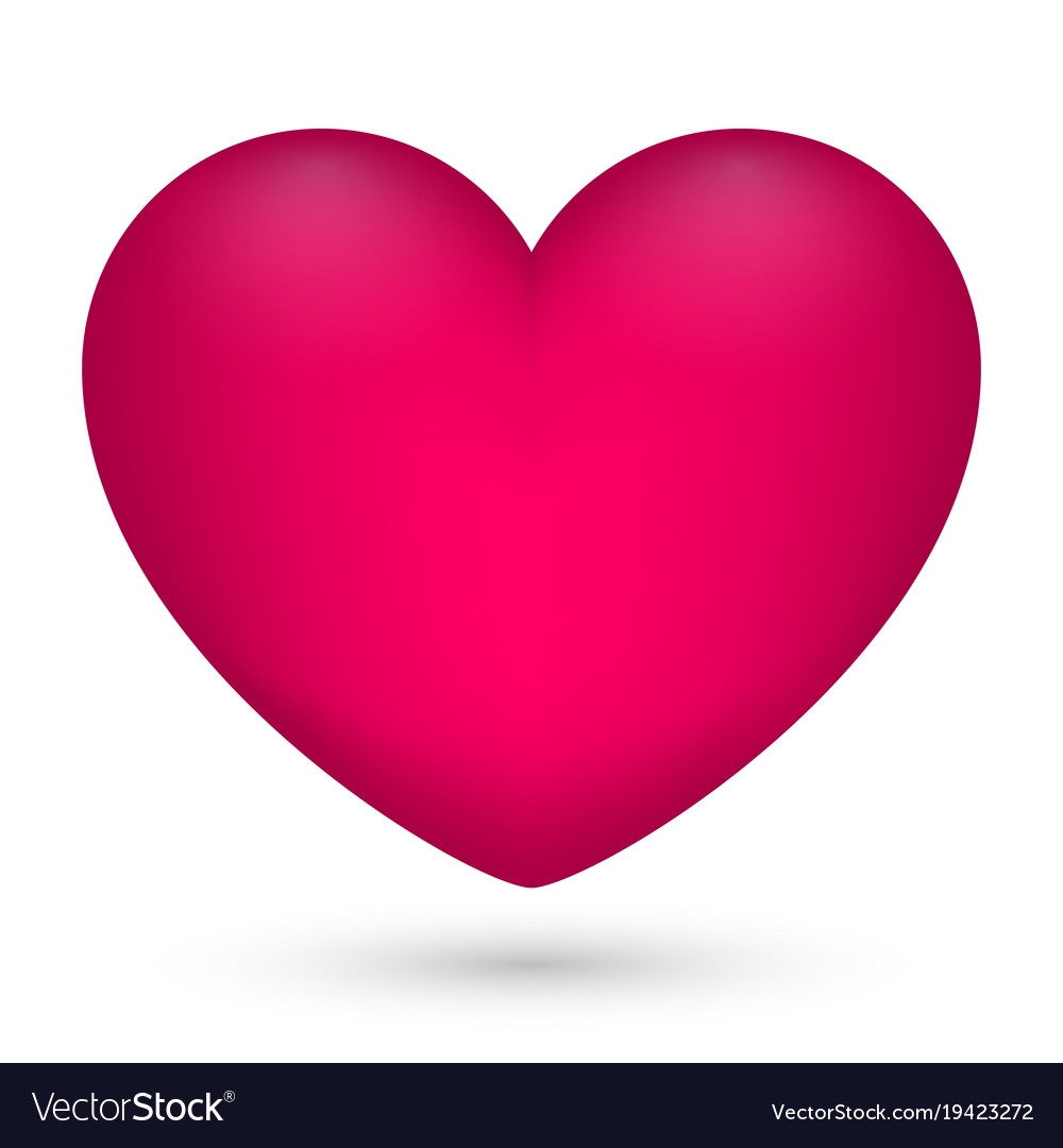 Pink heart on white