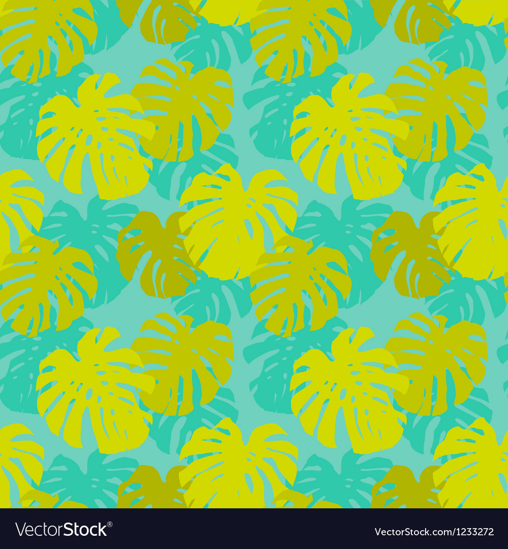 Seamless pattern with monstera leafs vector image