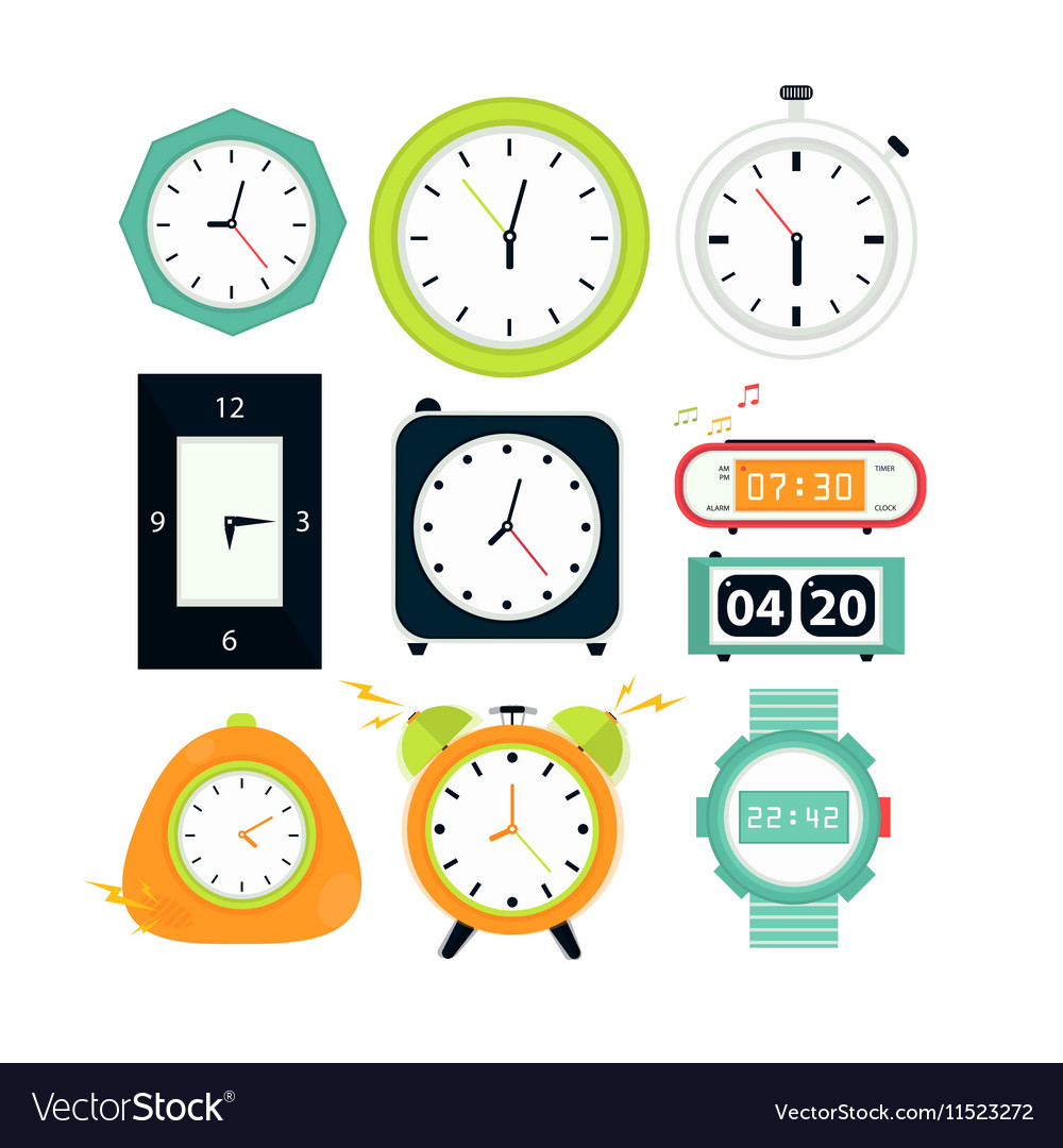 Types Of Alarms Clocks Digital Royalty Free Vector Image