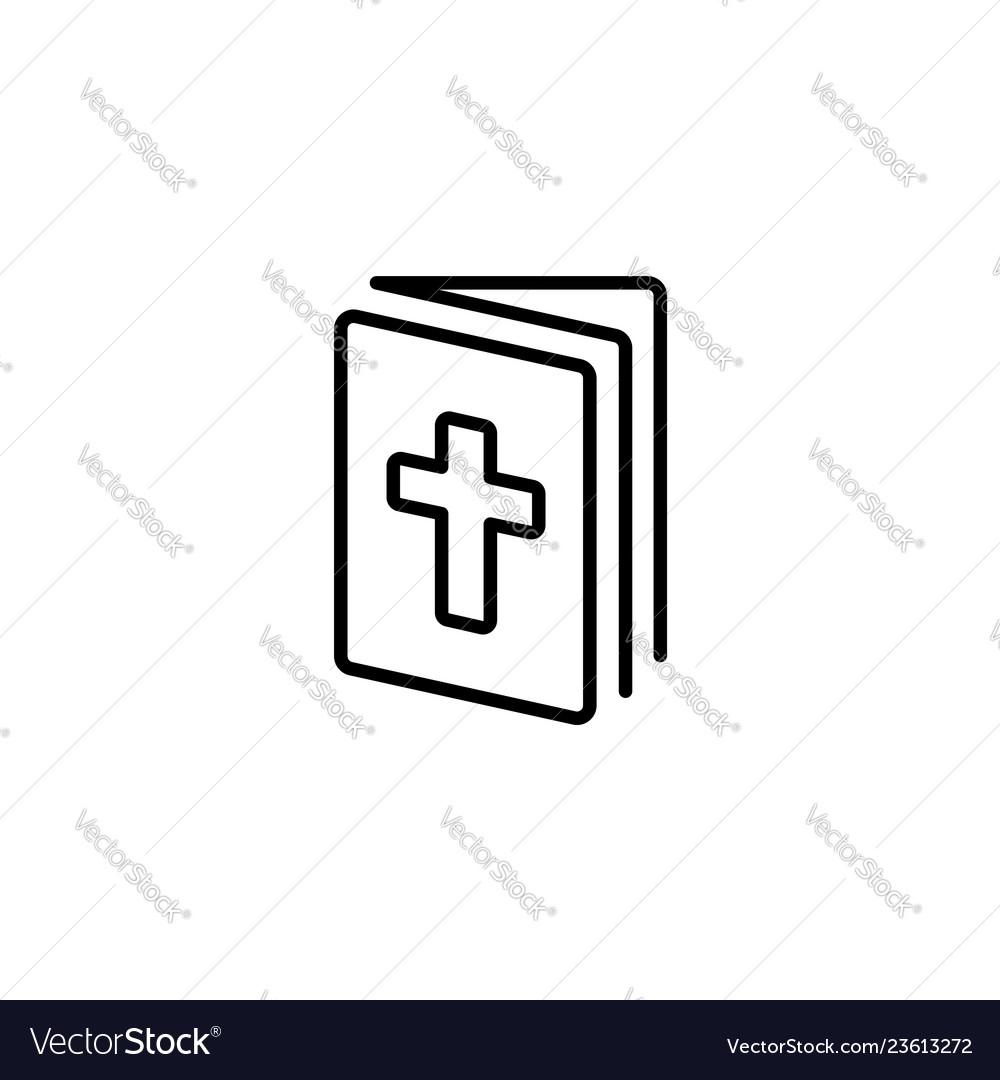Web line icon bible holy writ black on white