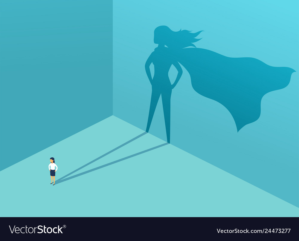 Businesswoman with shadow superhero super manager