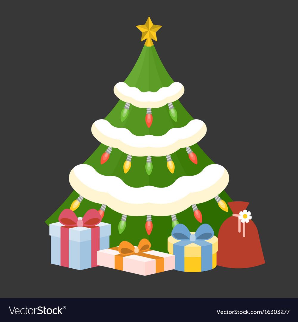 Christmas tree with present box
