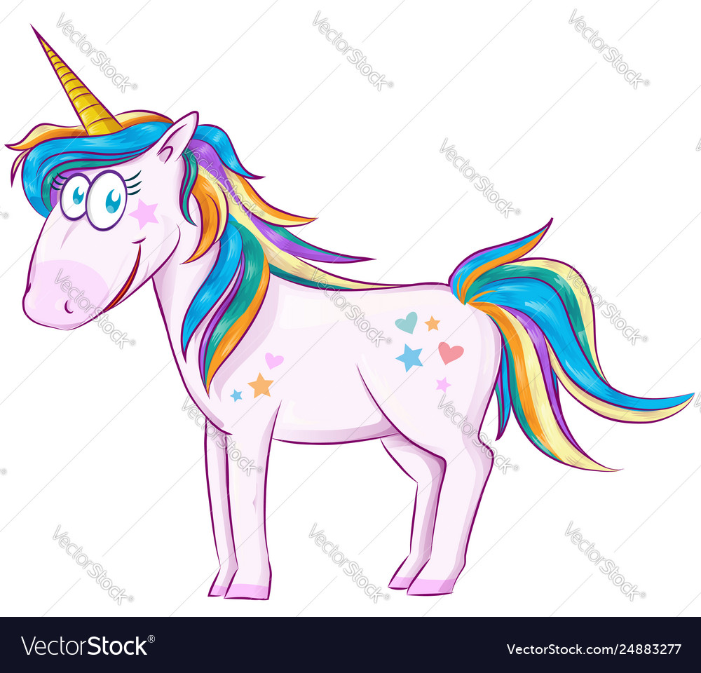 Cute cartoon unicorn over white background