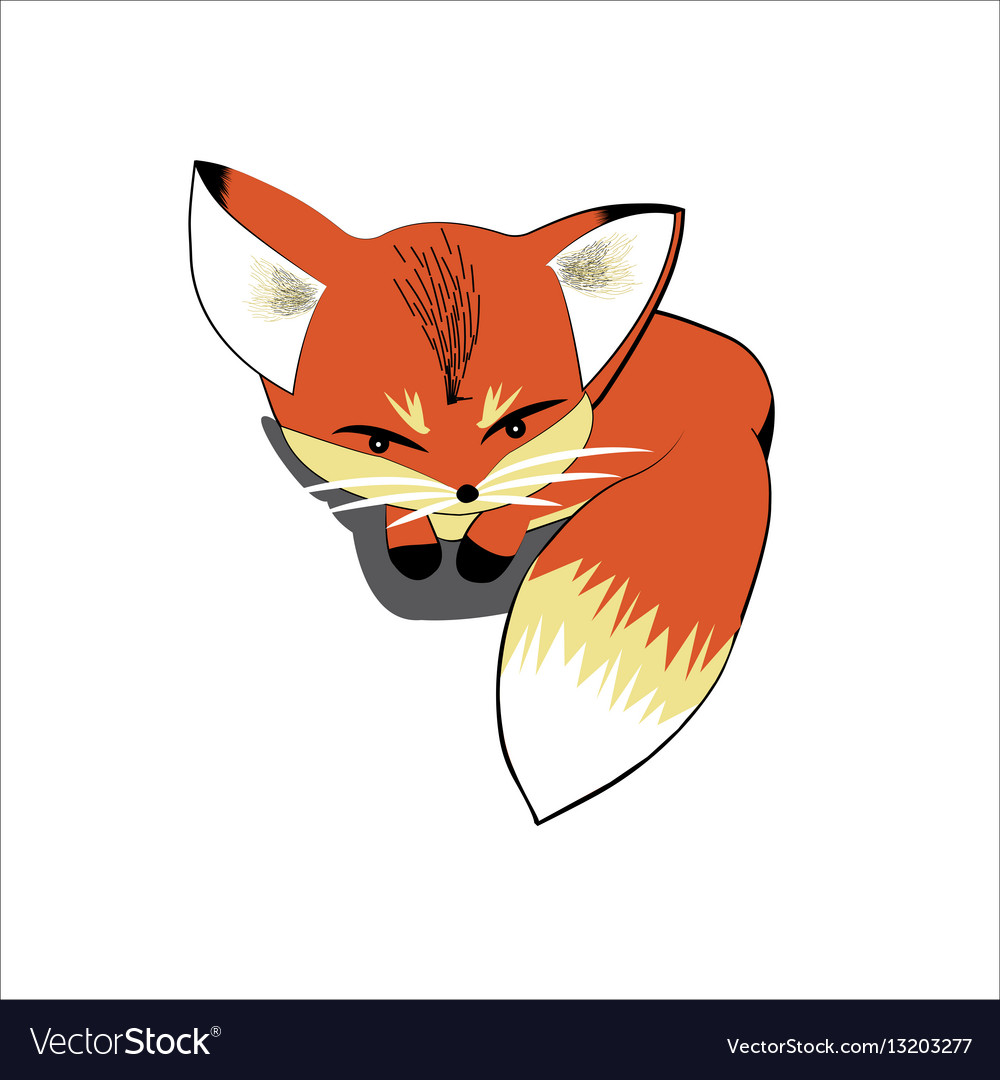 Cute fox lying on the ground vector image