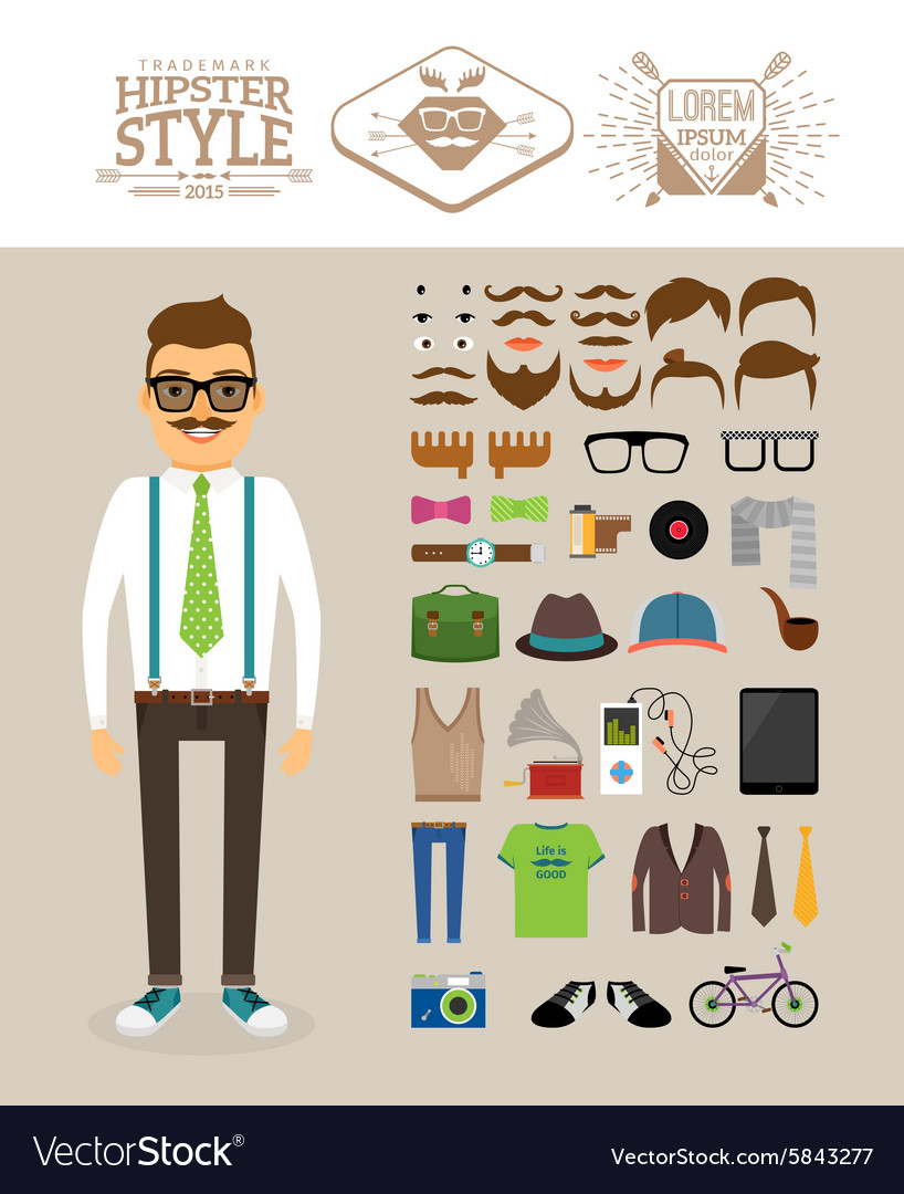 Hipster man Accessories hairstyles and labels