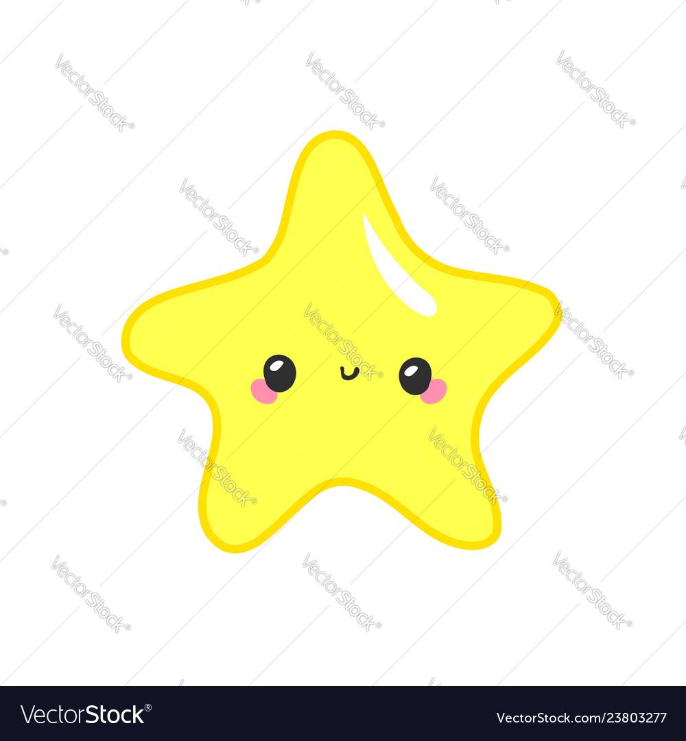 Kawaii stars set face with eyes boys and girls