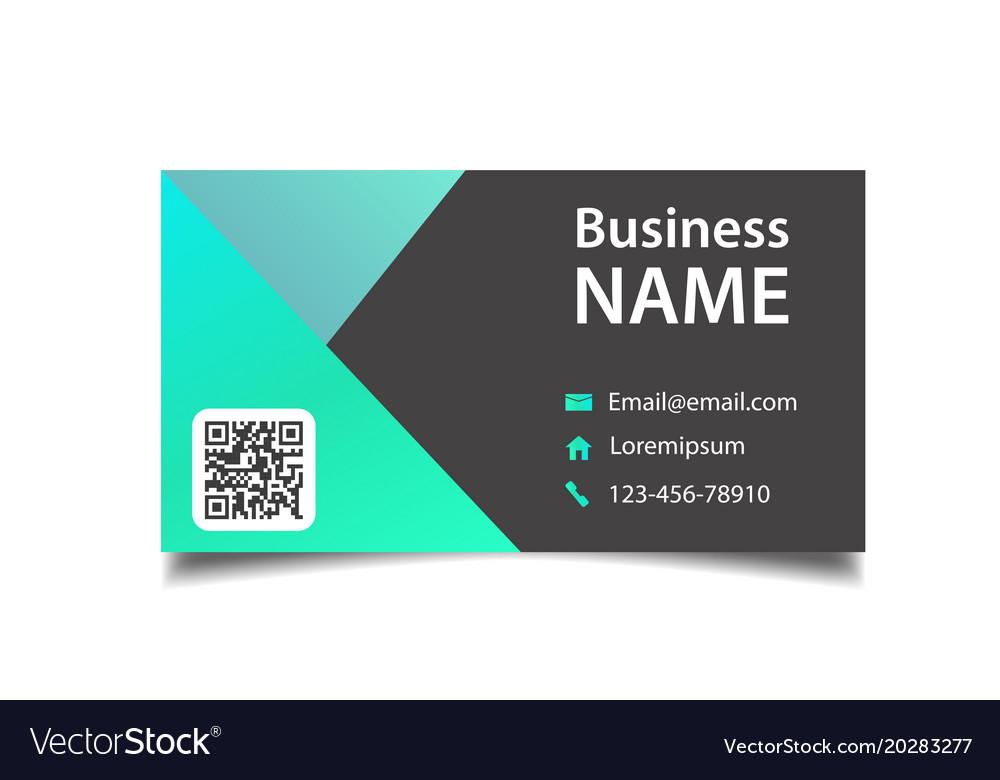 Modern business card black and green background ve
