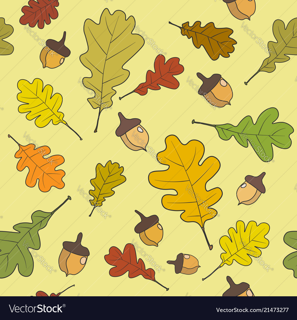Seamless pattern autumn leaves background autumn