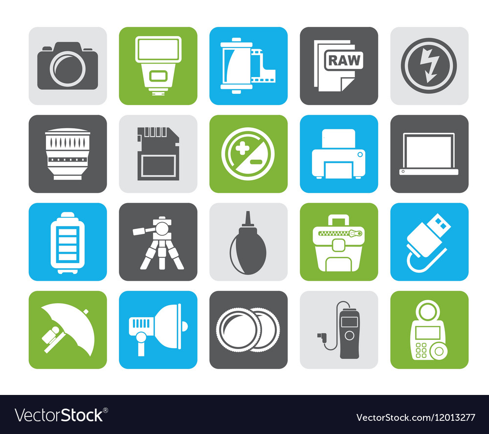 Silhouette Camera equipment and photography icons vector image