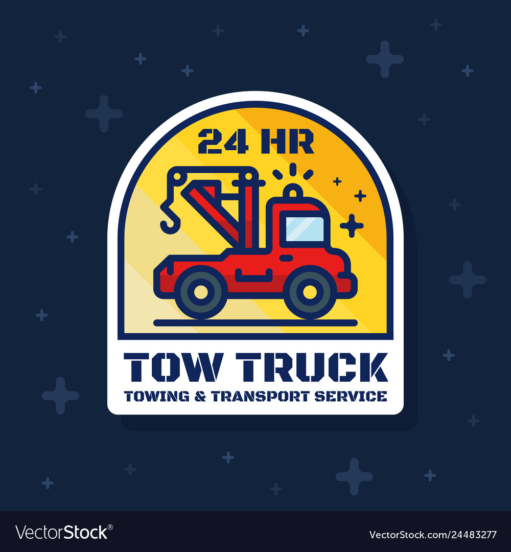 Tow truck badge banner towing and transport