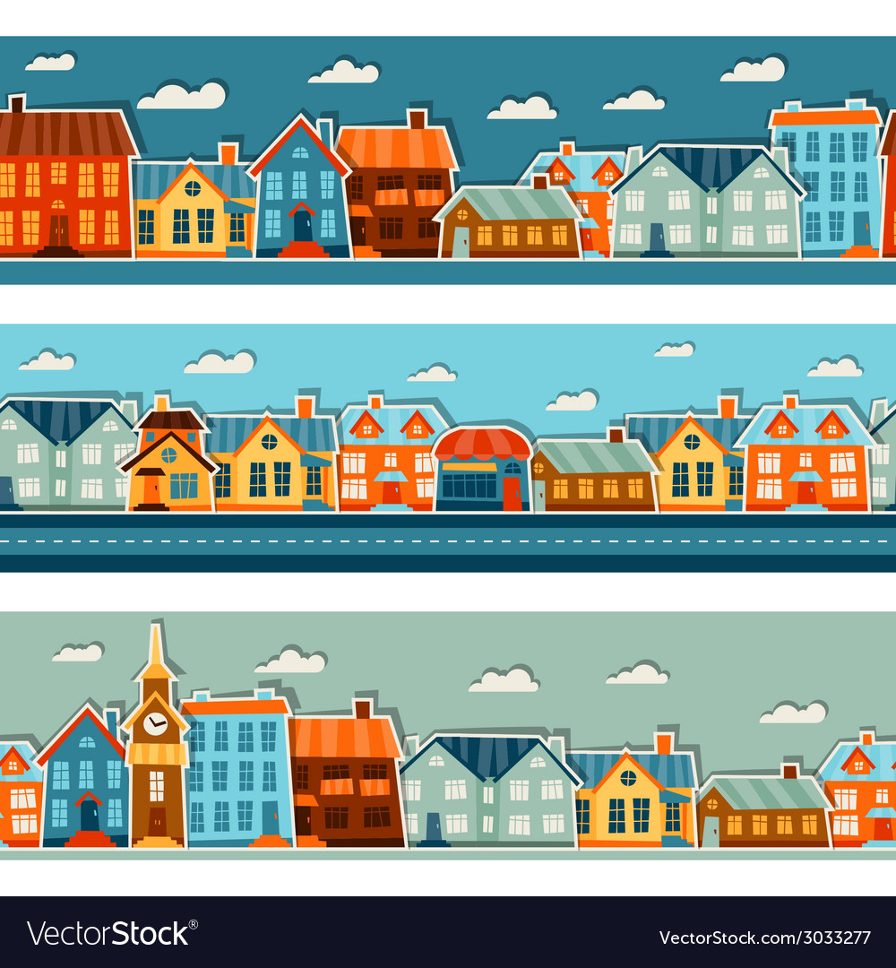 Town seamless patterns with cute colorful sticker vector image
