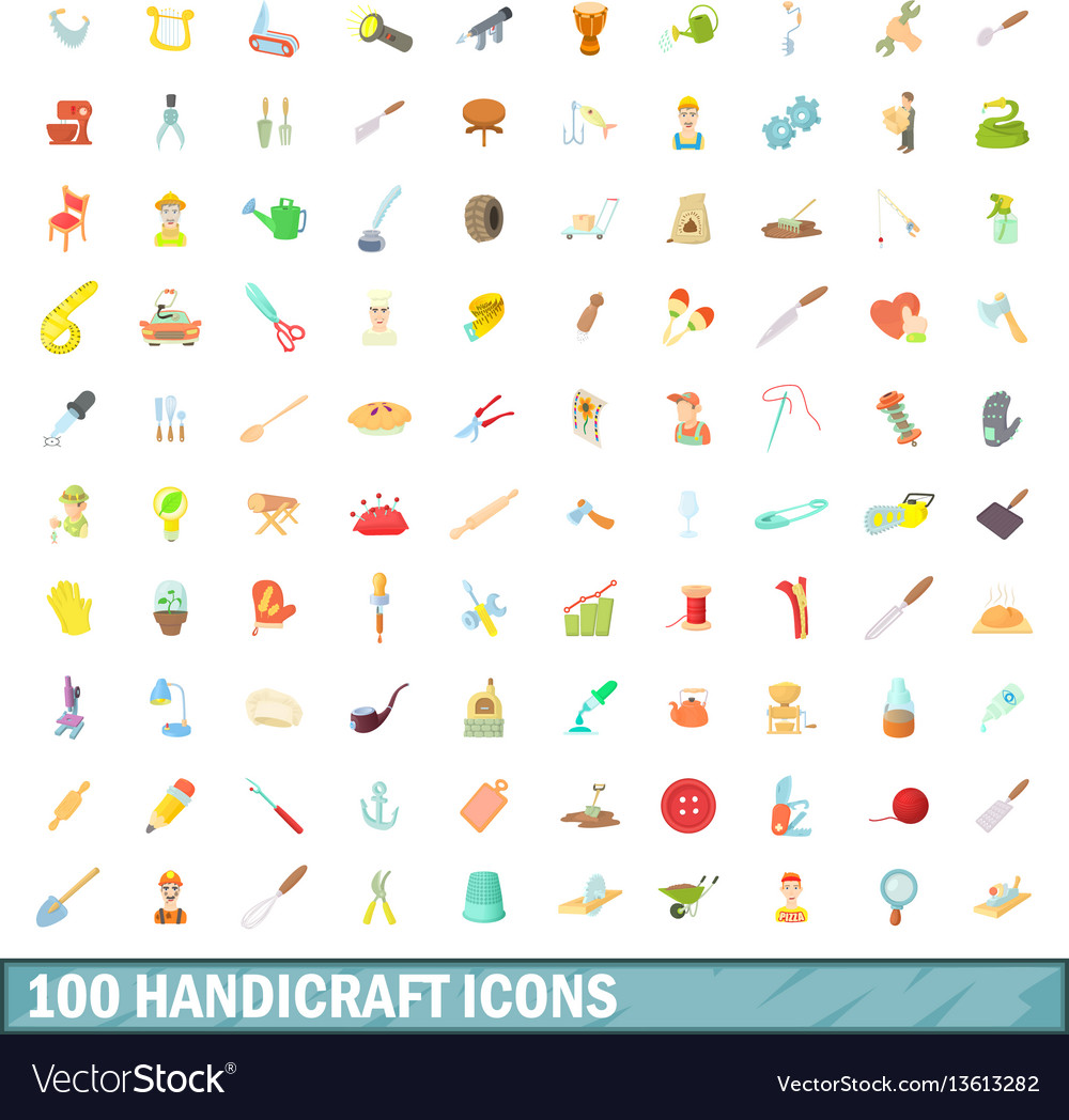 100 handicraft icons set cartoon style