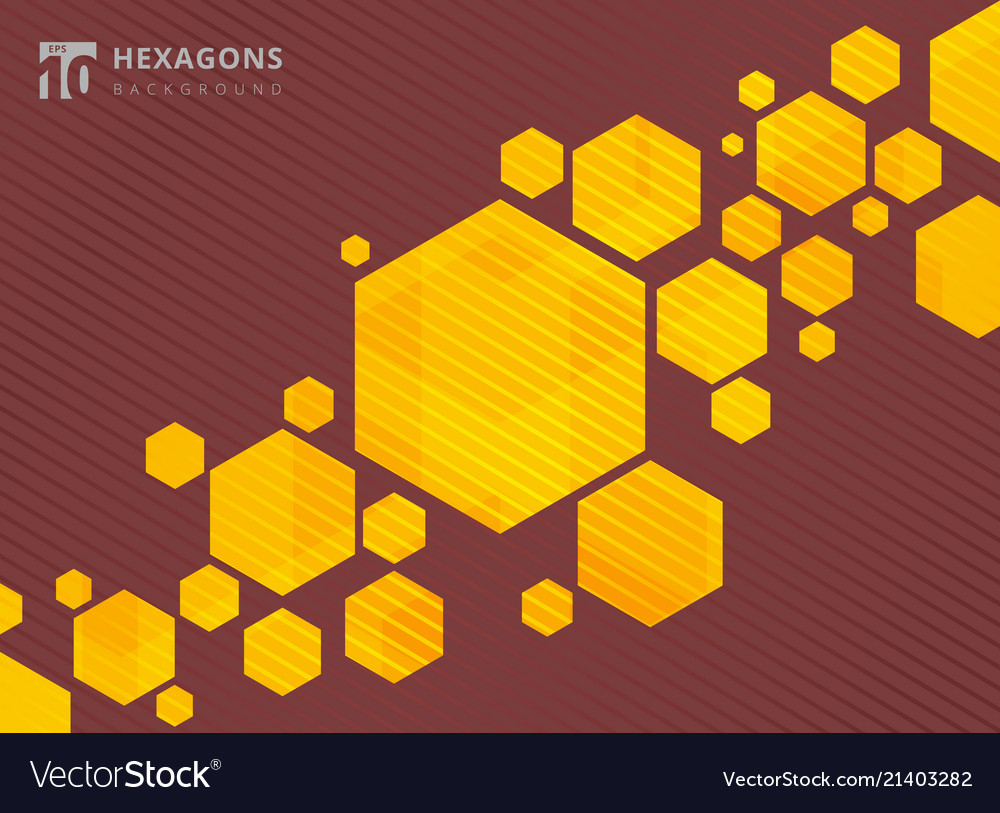 Abstract geometric hexagons yellow background