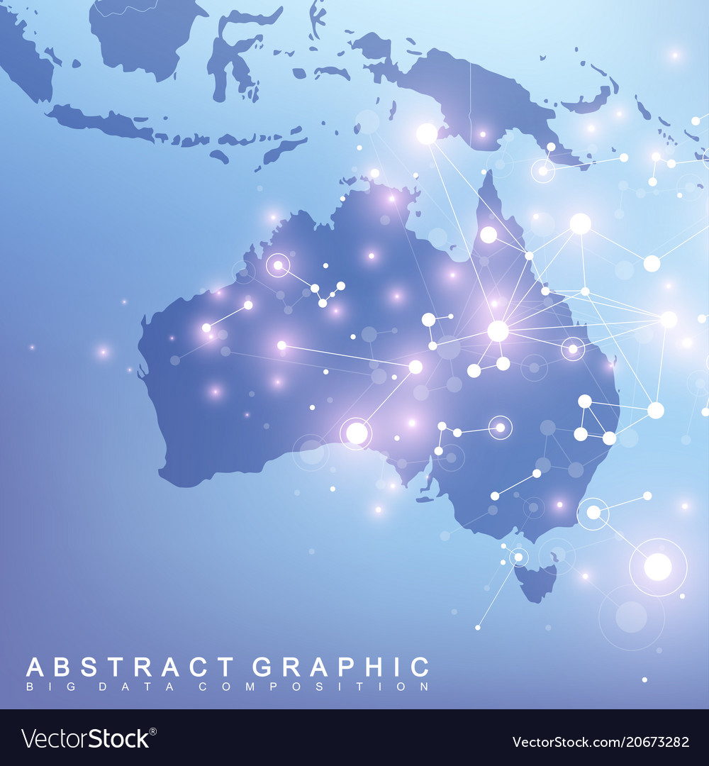 Australia Global Map.Abstract Map Of Australia Country Global Network