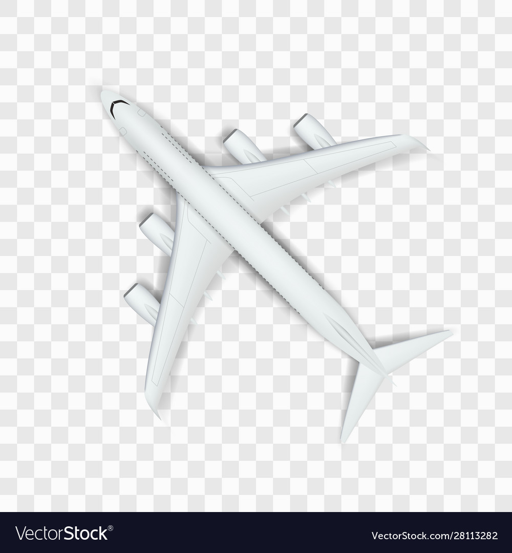 Abstract white big airplane on transparent back