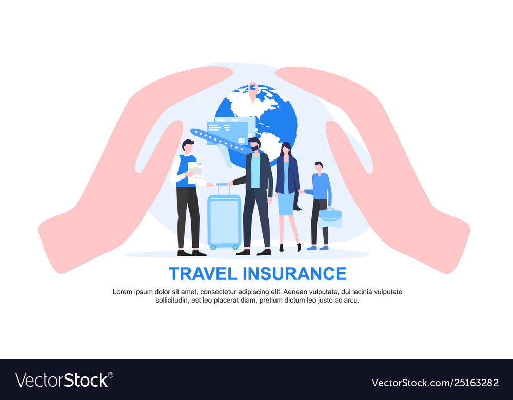 Agent and family with luggage cupped hand protect