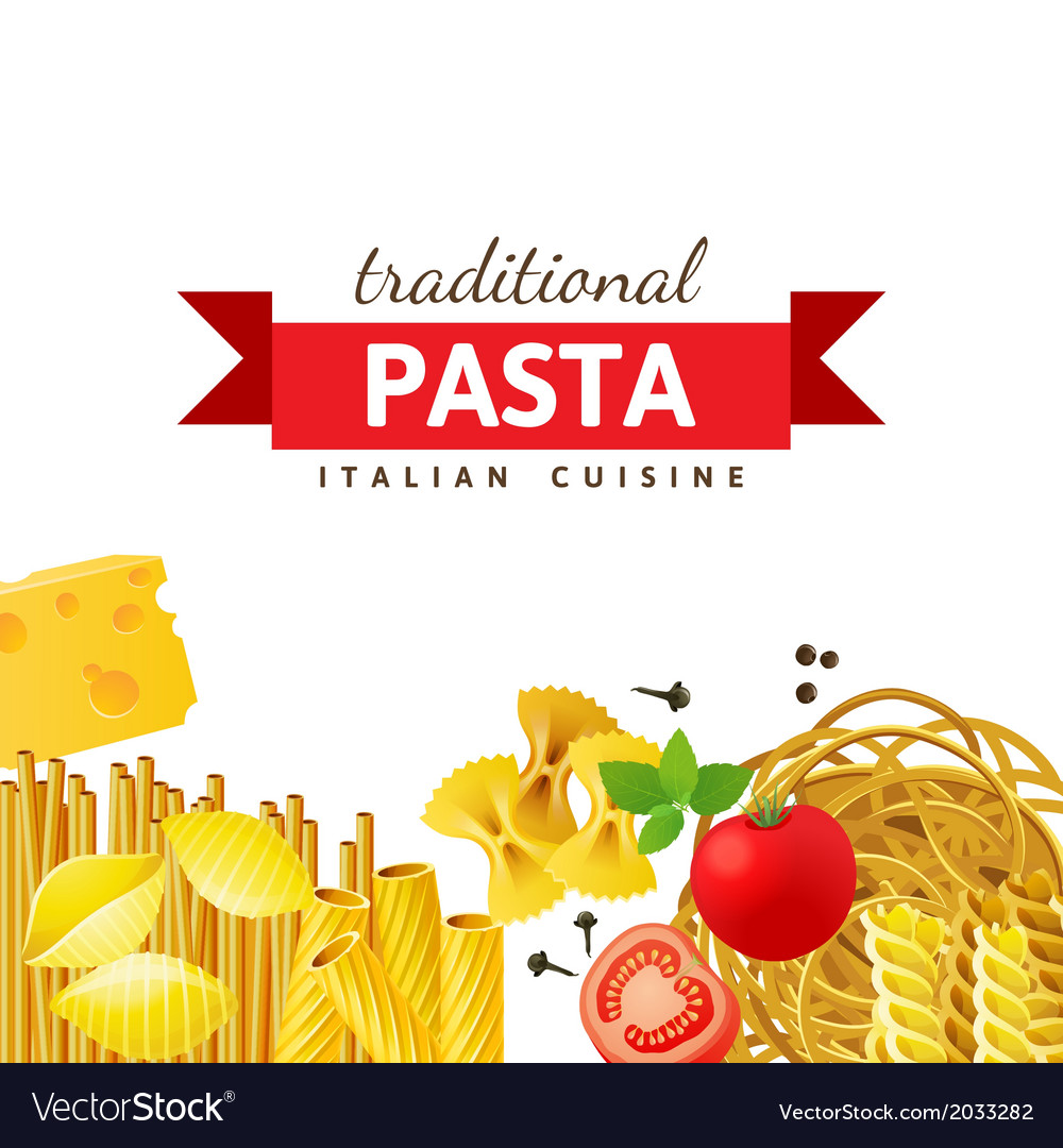 Background with different pasta types