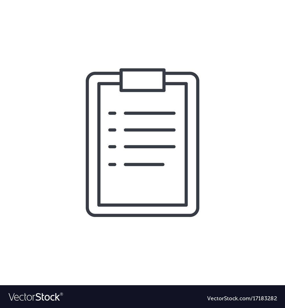 Clipboard to-do list plan thin line icon linear