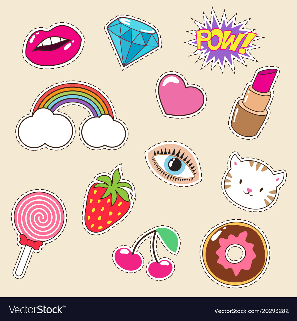 Cute colourful girl fashion patches