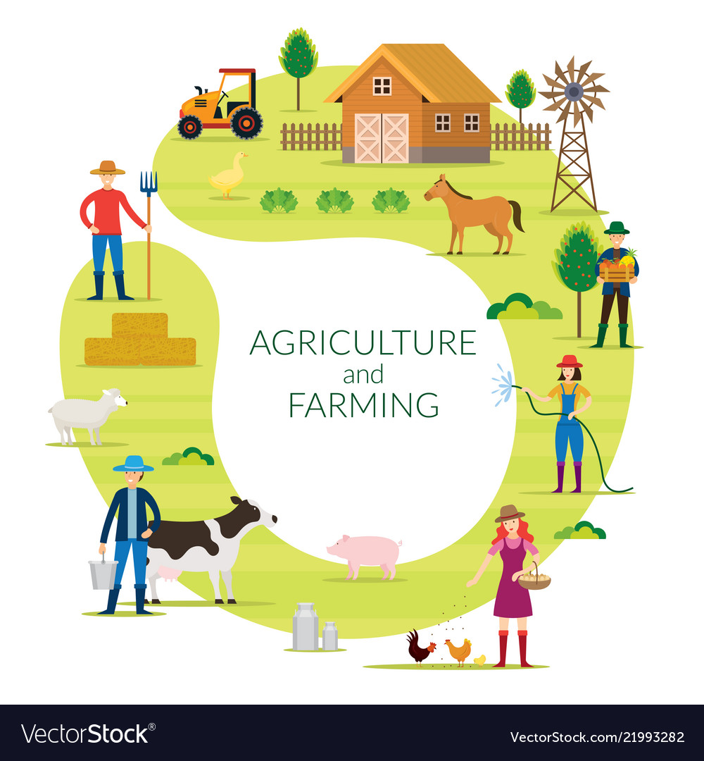 Farmer agriculture and farming concept round frame